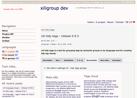 La page d'accueil de xiligroup dev